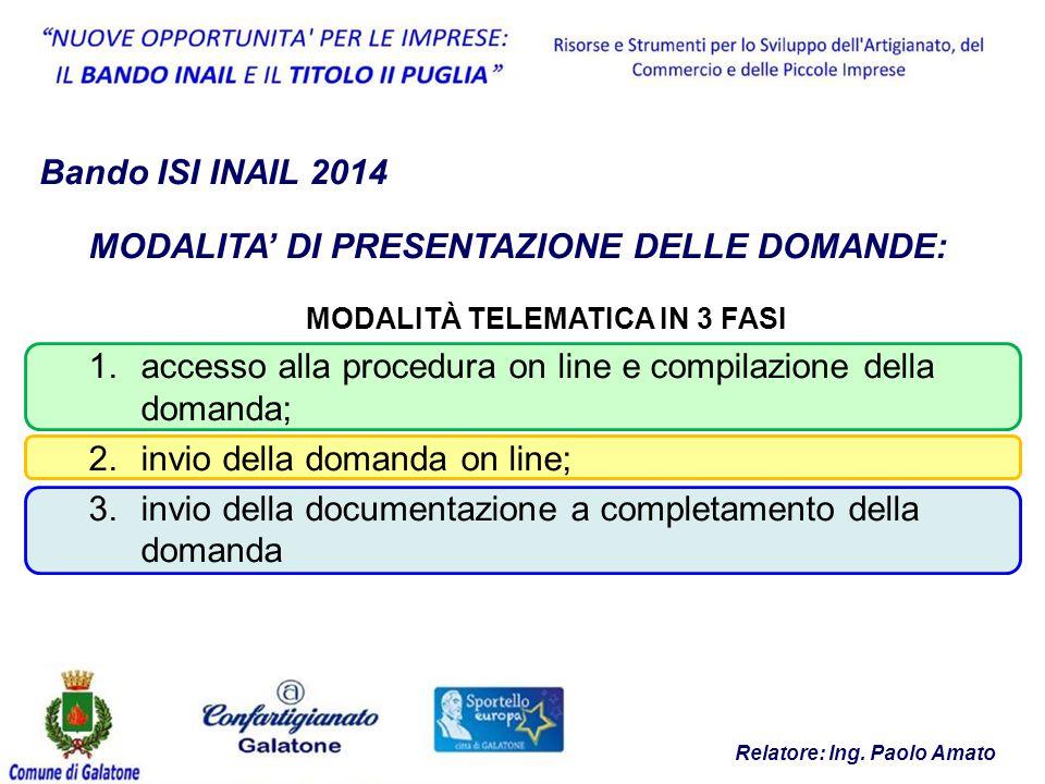 MODALITÀ TELEMATICA IN 3 FASI Relatore: Ing. Paolo Amato
