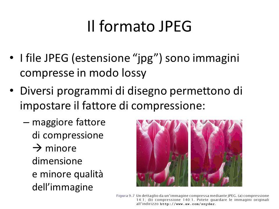 Il formato JPEG I file JPEG (estensione jpg ) sono immagini compresse in modo lossy.
