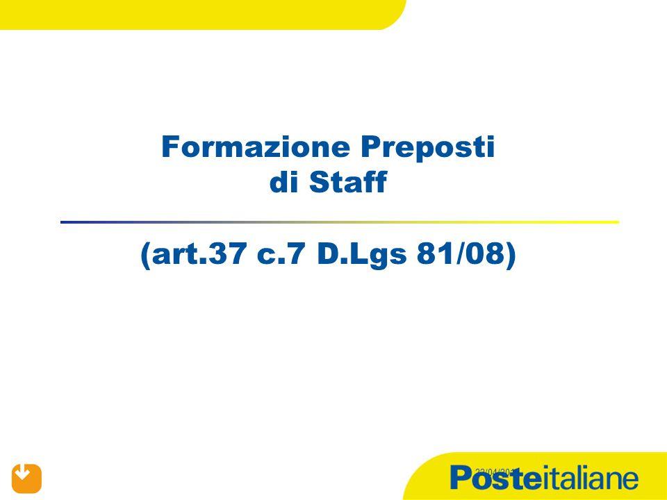 Formazione Preposti di Staff (art.37 c.7 D.Lgs 81/08)