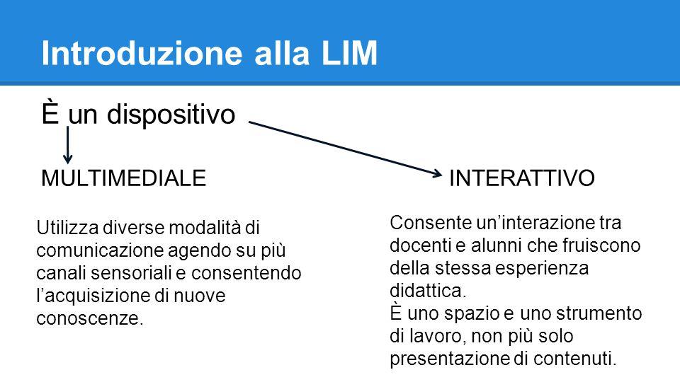 Introduzione alla LIM È un dispositivo MULTIMEDIALE INTERATTIVO