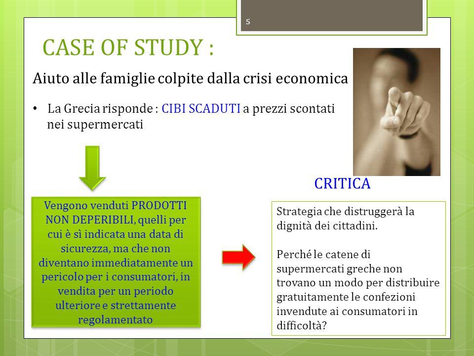 CASE OF STUDY : Aiuto alle famiglie colpite dalla crisi economica
