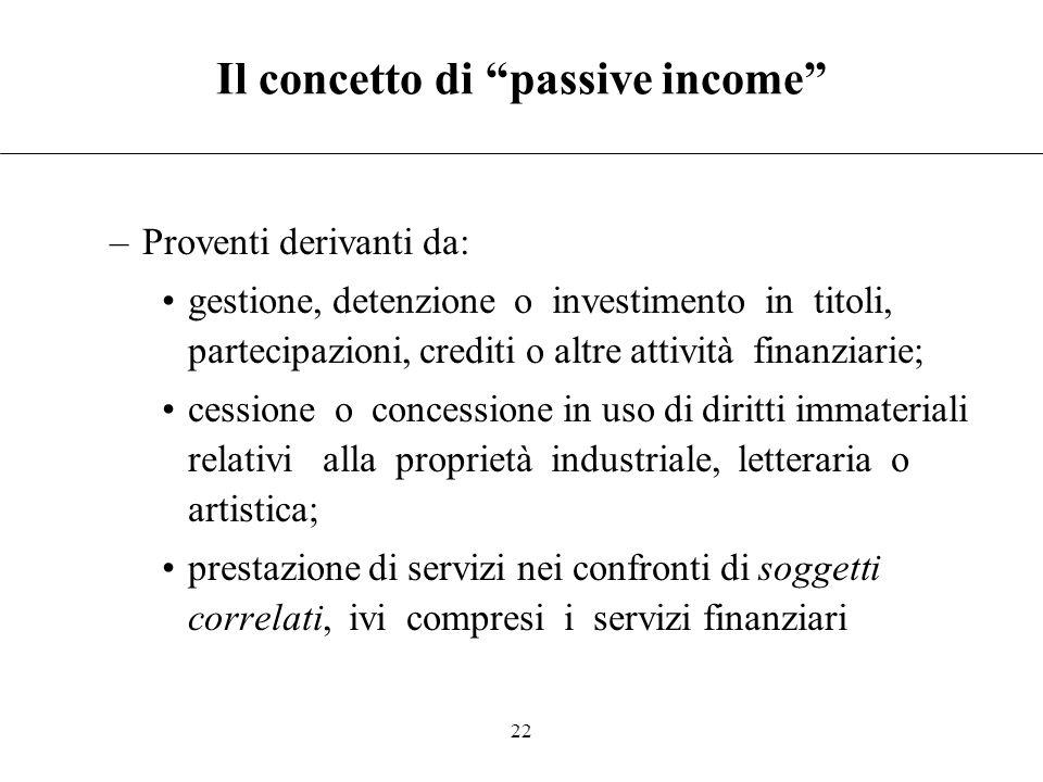 Il concetto di passive income
