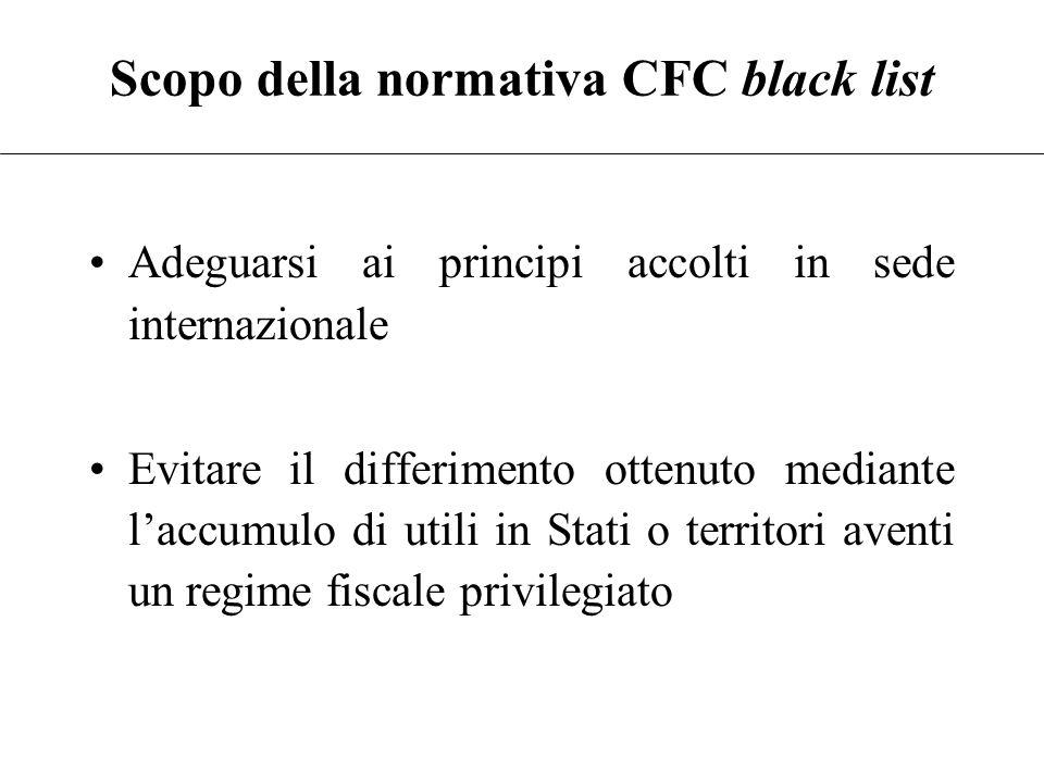 Scopo della normativa CFC black list