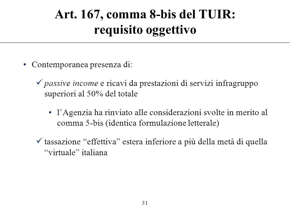 Art. 167, comma 8-bis del TUIR: requisito oggettivo