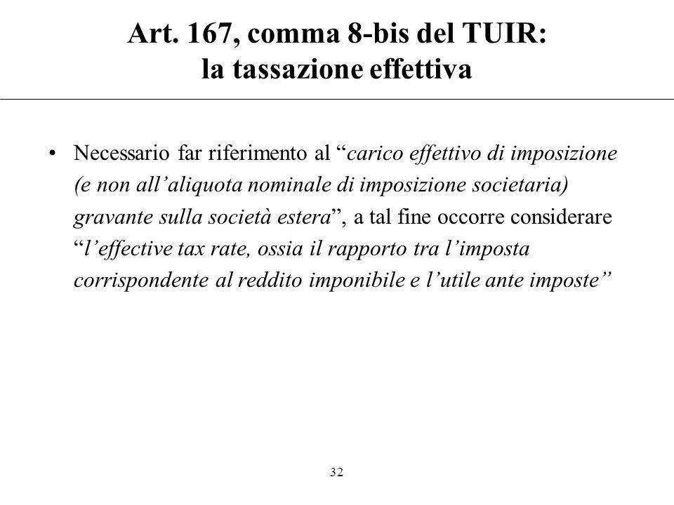 Art. 167, comma 8-bis del TUIR: la tassazione effettiva