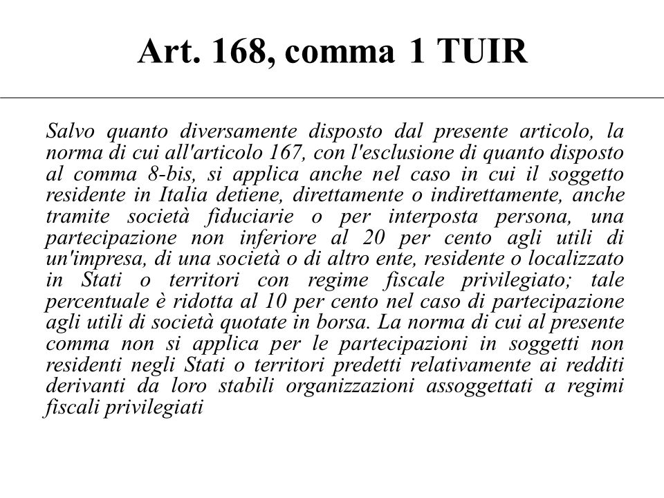 Art. 168, comma 1 TUIR