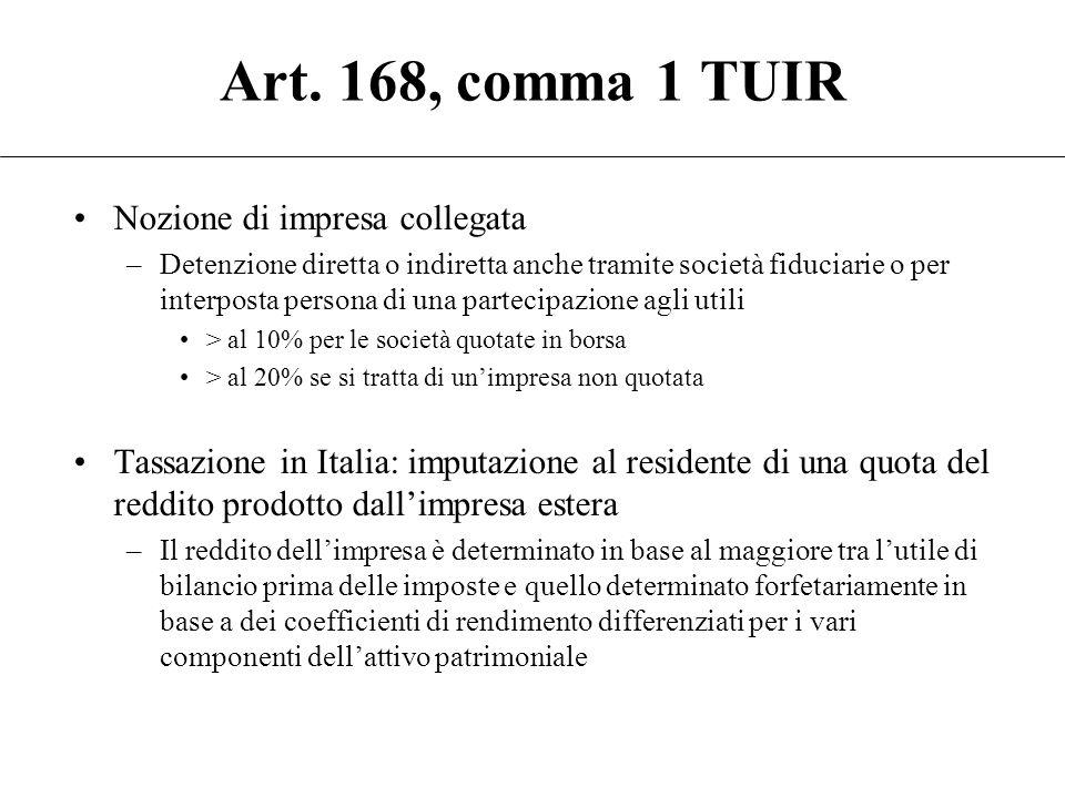 Art. 168, comma 1 TUIR Nozione di impresa collegata