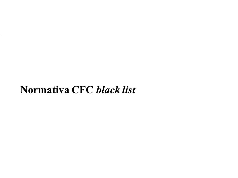 Normativa CFC black list