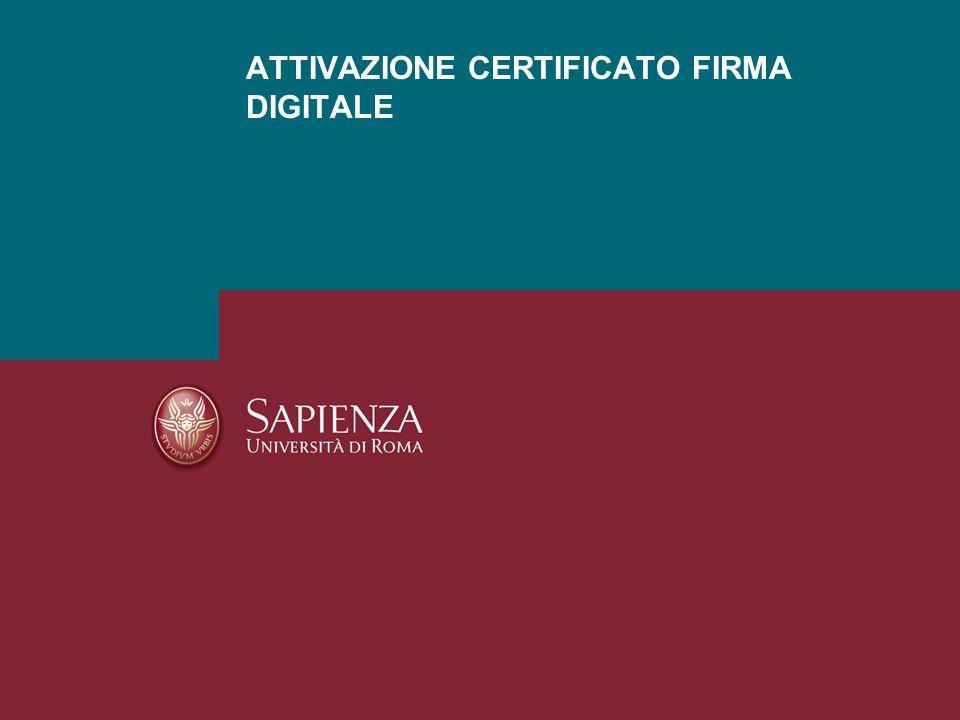 ATTIVAZIONE CERTIFICATO FIRMA DIGITALE