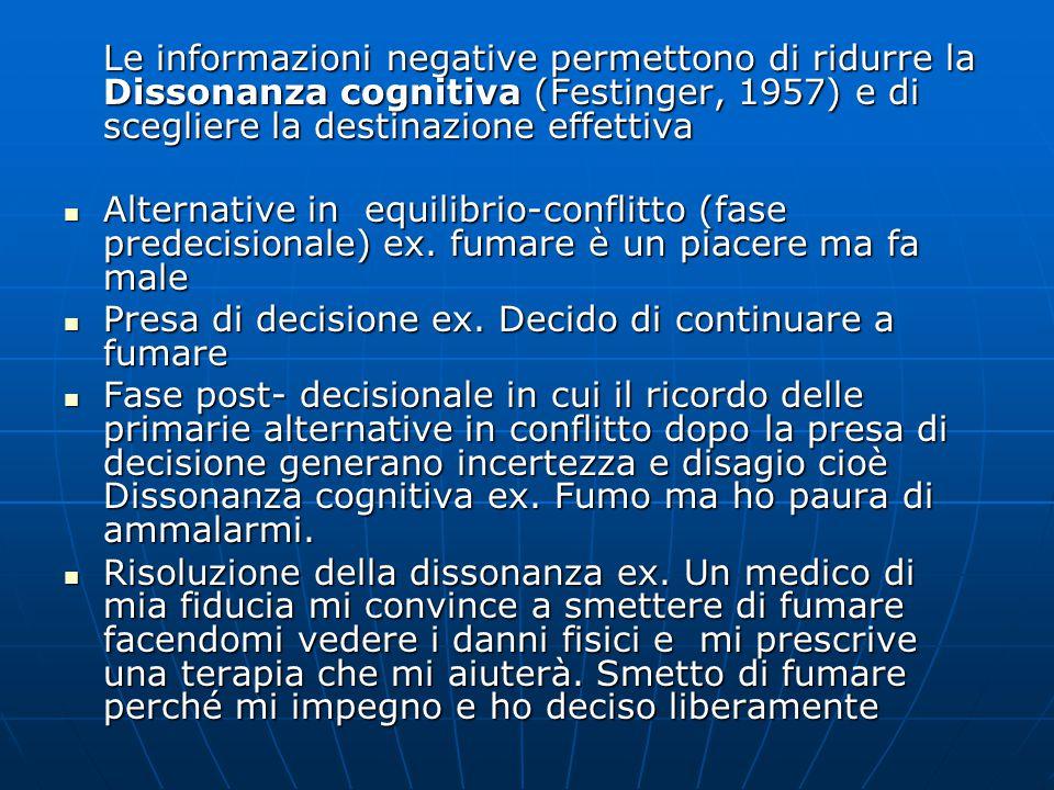 Le informazioni negative permettono di ridurre la Dissonanza cognitiva (Festinger, 1957) e di scegliere la destinazione effettiva