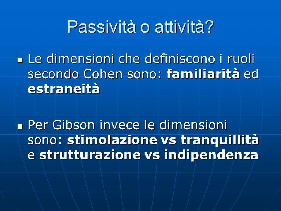 Passività o attività Le dimensioni che definiscono i ruoli secondo Cohen sono: familiarità ed estraneità.