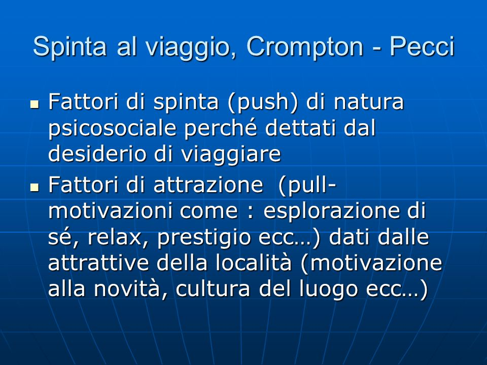 Spinta al viaggio, Crompton - Pecci