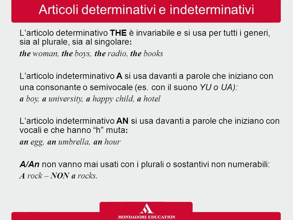 Articoli determinativi e indeterminativi