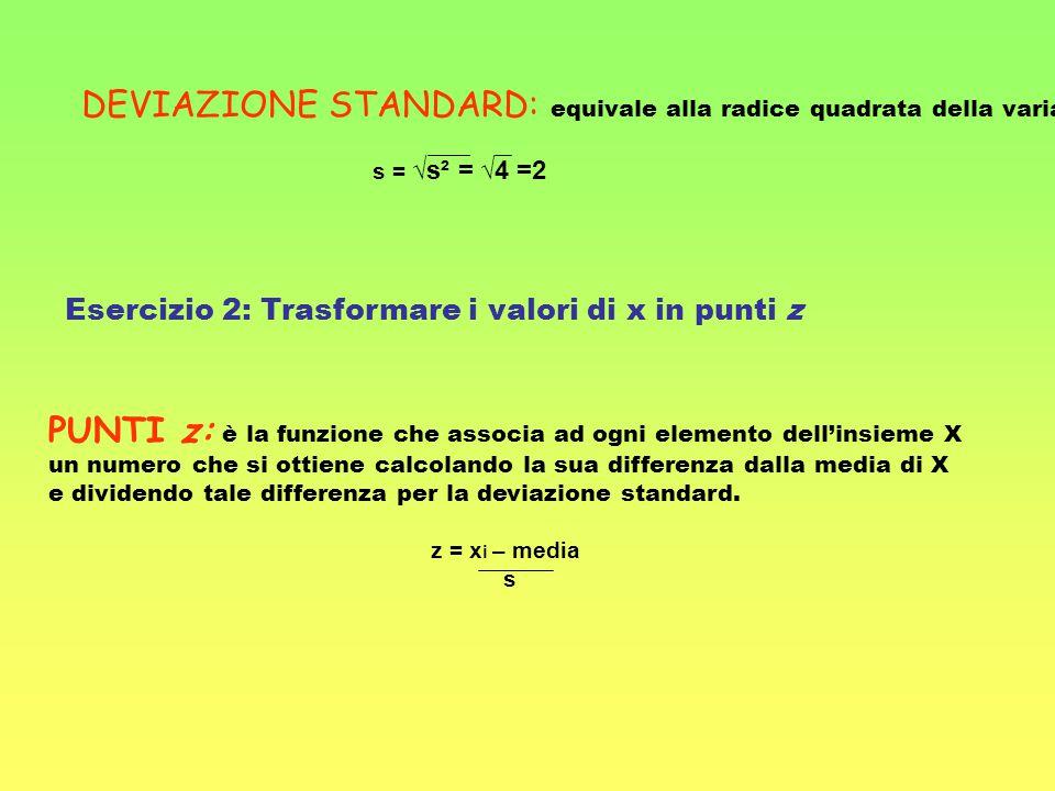 DEVIAZIONE STANDARD: equivale alla radice quadrata della varianza