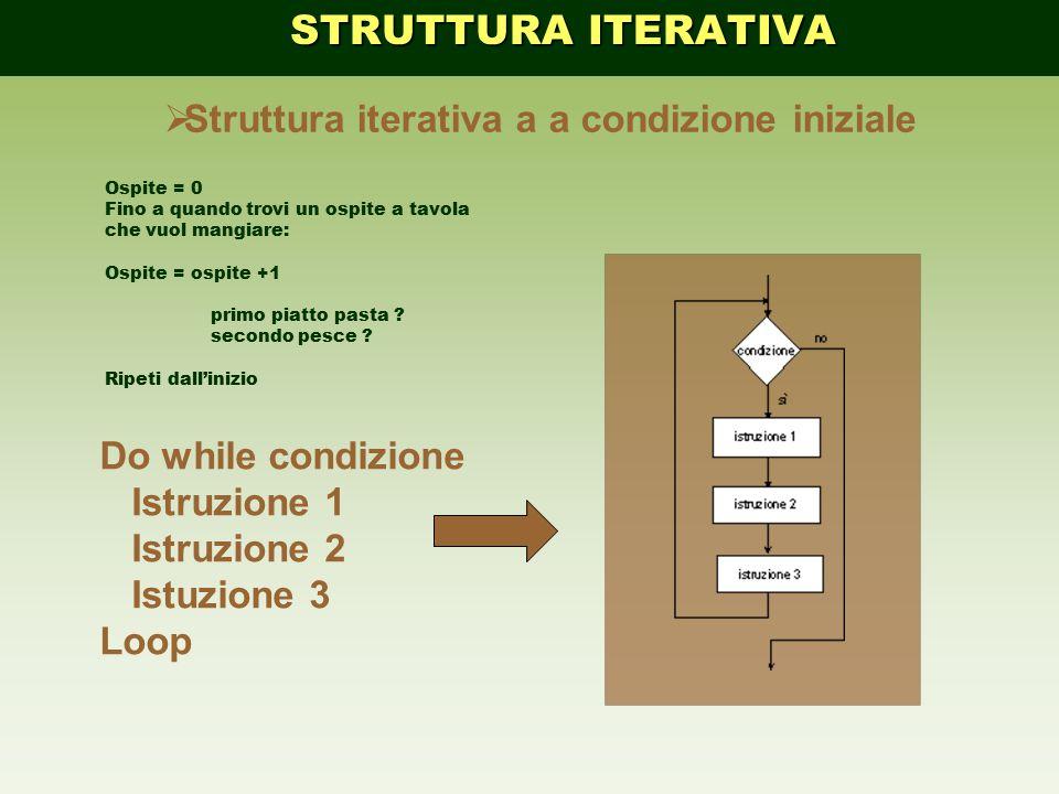 STRUTTURA ITERATIVA Struttura iterativa a a condizione iniziale