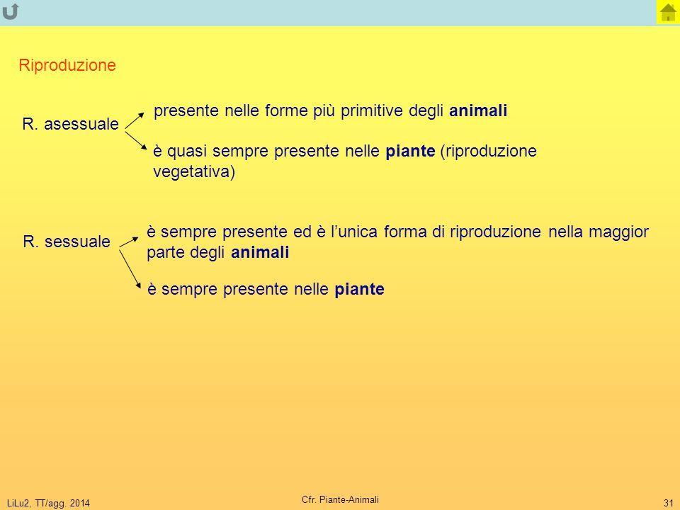 presente nelle forme più primitive degli animali R. asessuale