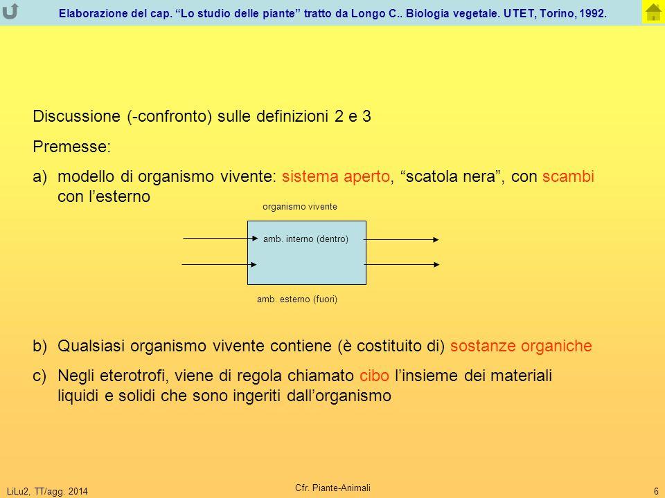 Discussione (-confronto) sulle definizioni 2 e 3 Premesse: