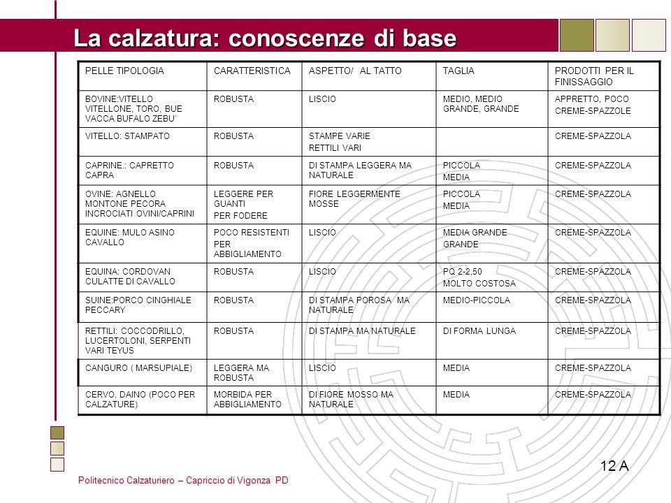 12 A PELLE TIPOLOGIA CARATTERISTICA ASPETTO/ AL TATTO TAGLIA