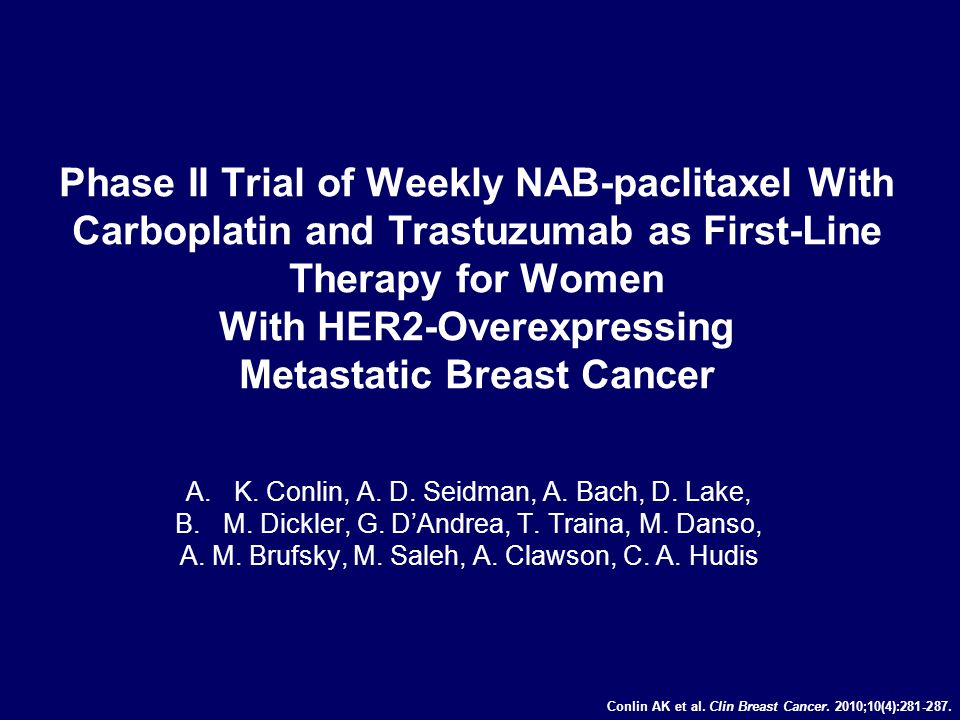 Phase II Trial of Weekly NAB-paclitaxel With Carboplatin and Trastuzumab as First-Line Therapy for Women With HER2-Overexpressing Metastatic Breast Cancer