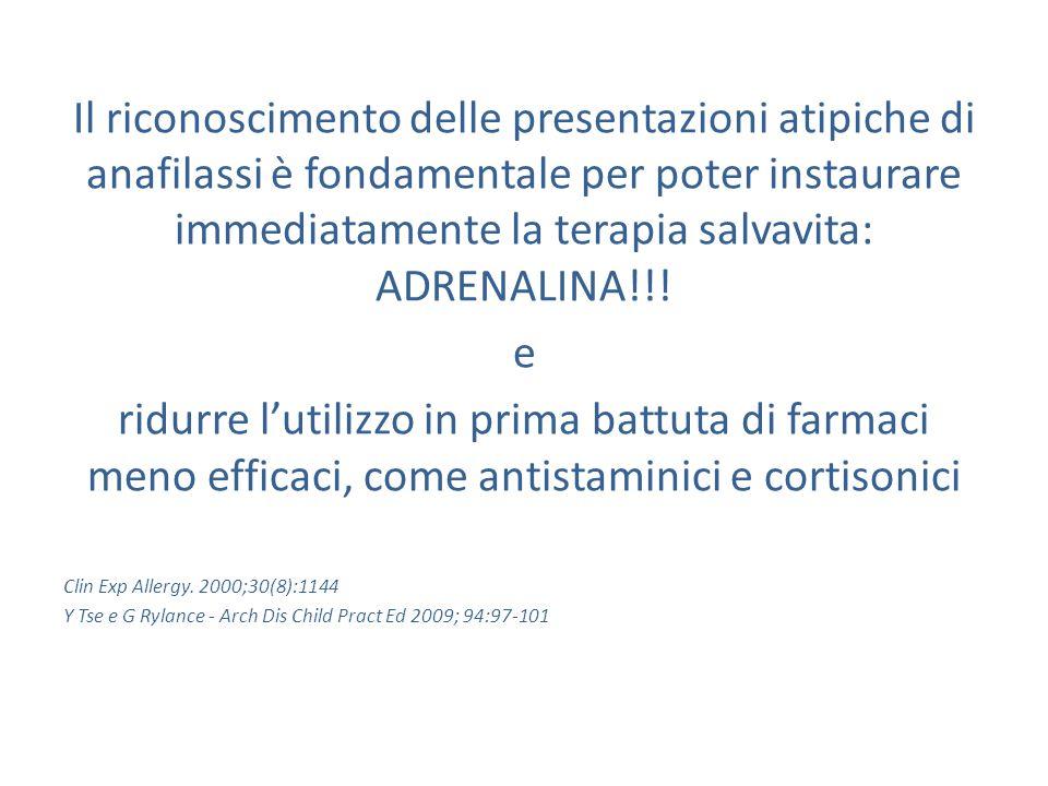 Il riconoscimento delle presentazioni atipiche di anafilassi è fondamentale per poter instaurare immediatamente la terapia salvavita: ADRENALINA!!!