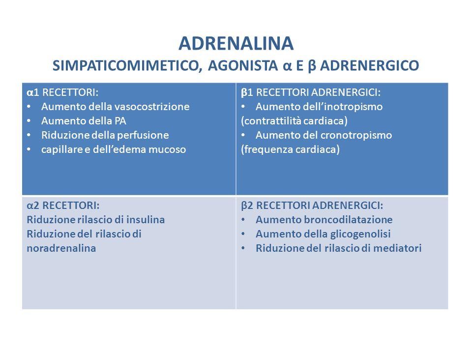 ADRENALINA SIMPATICOMIMETICO, AGONISTA α E β ADRENERGICO