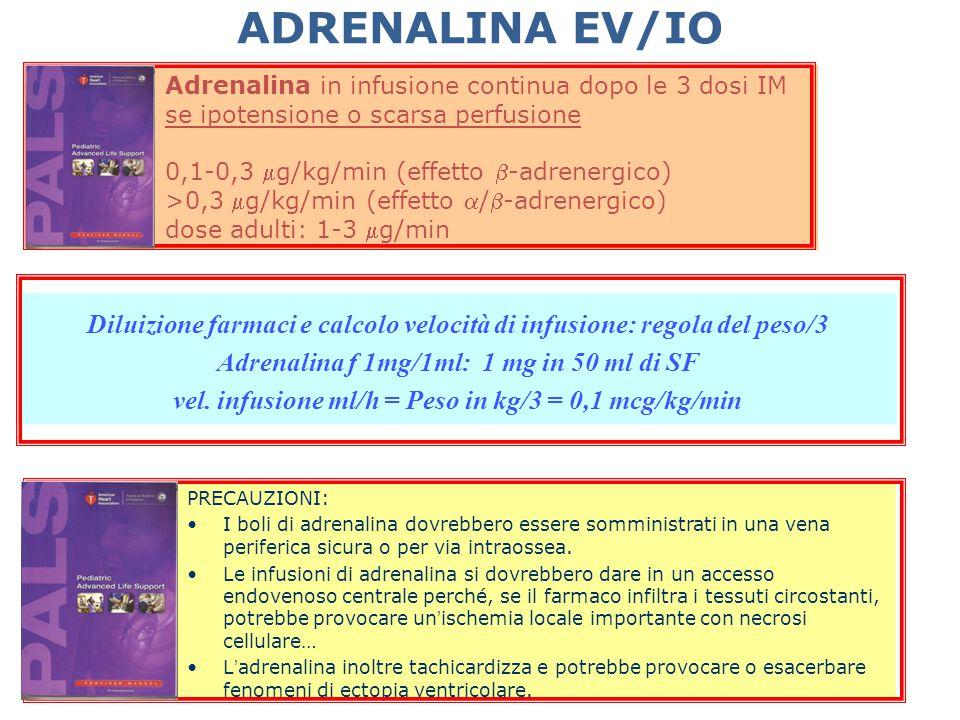 ADRENALINA EV/IO Adrenalina in infusione continua dopo le 3 dosi IM. se ipotensione o scarsa perfusione.