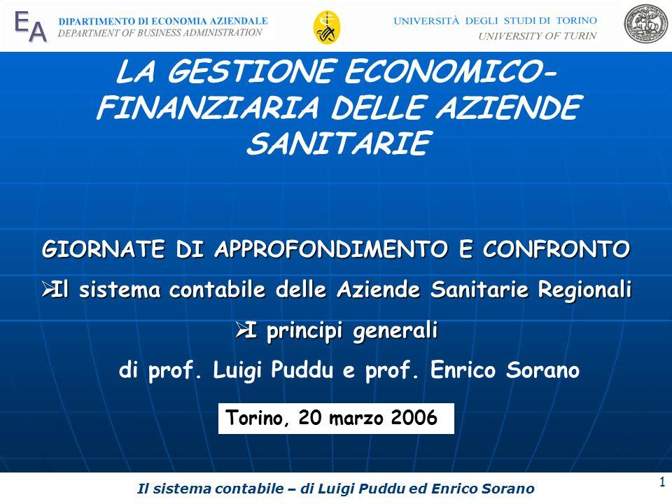 LA GESTIONE ECONOMICO-FINANZIARIA DELLE AZIENDE SANITARIE