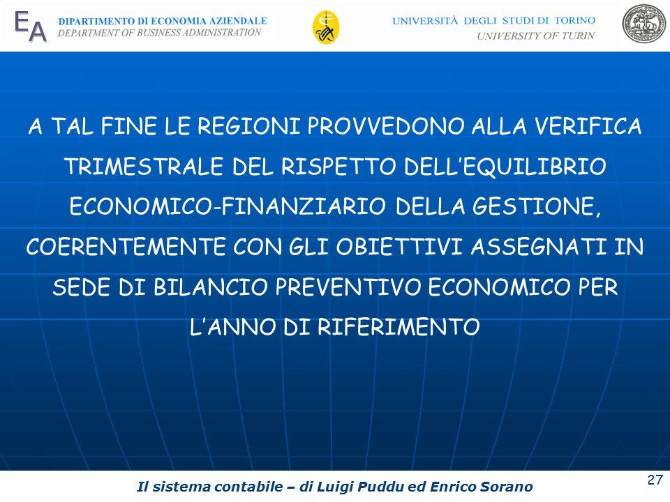 A TAL FINE LE REGIONI PROVVEDONO ALLA VERIFICA TRIMESTRALE DEL RISPETTO DELL'EQUILIBRIO ECONOMICO-FINANZIARIO DELLA GESTIONE, COERENTEMENTE CON GLI OBIETTIVI ASSEGNATI IN SEDE DI BILANCIO PREVENTIVO ECONOMICO PER L'ANNO DI RIFERIMENTO