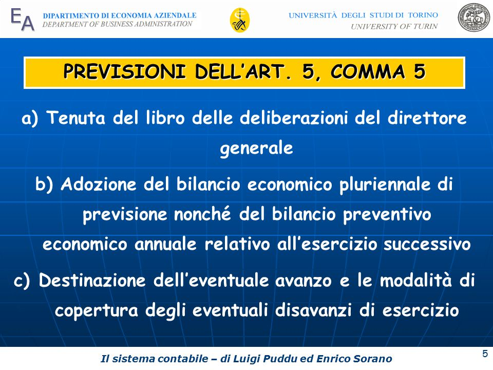 PREVISIONI DELL'ART. 5, COMMA 5