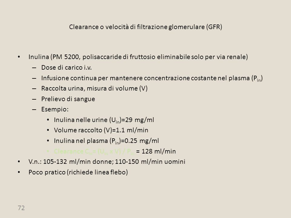 Clearance o velocità di filtrazione glomerulare (GFR)
