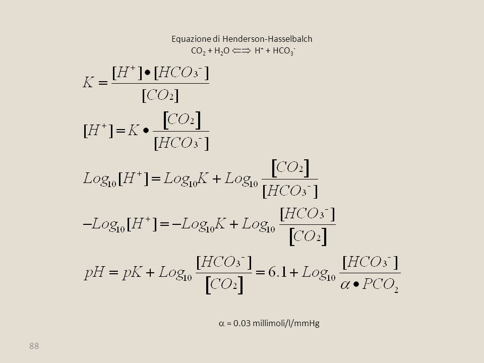 Equazione di Henderson-Hasselbalch CO2 + H2O  H+ + HCO3-