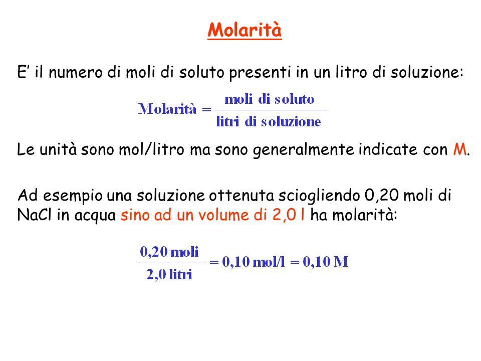 Molarità E' il numero di moli di soluto presenti in un litro di soluzione: Le unità sono mol/litro ma sono generalmente indicate con M.