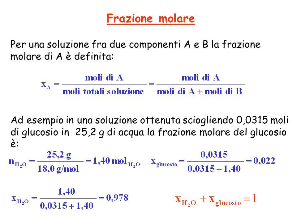 Frazione molare Per una soluzione fra due componenti A e B la frazione molare di A è definita: