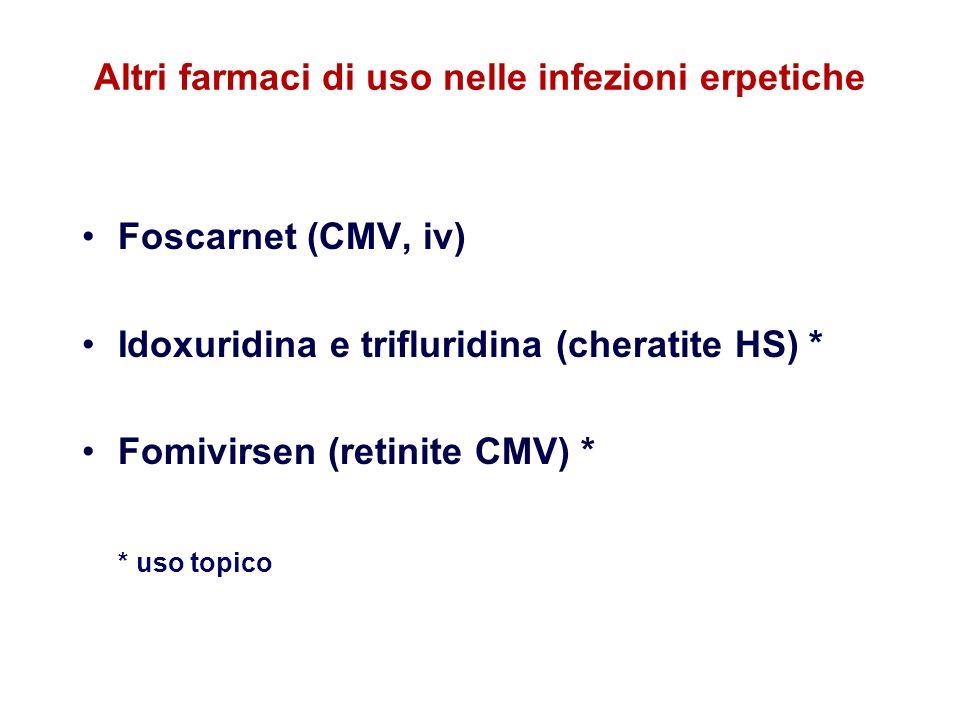 Altri farmaci di uso nelle infezioni erpetiche