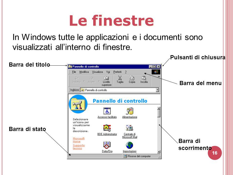 Le finestre In Windows tutte le applicazioni e i documenti sono visualizzati all'interno di finestre.
