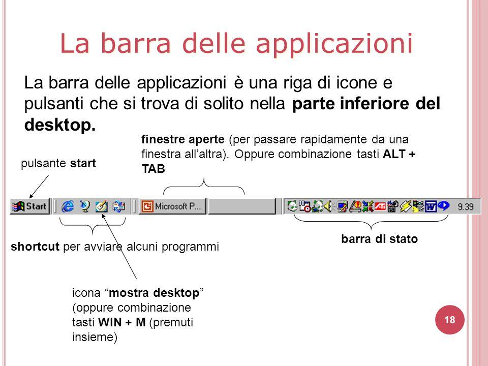 La barra delle applicazioni