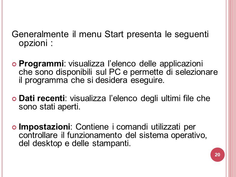 Generalmente il menu Start presenta le seguenti opzioni :