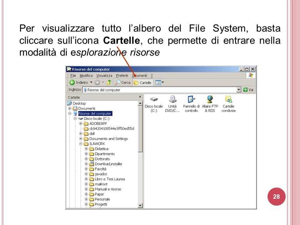 Per visualizzare tutto l'albero del File System, basta cliccare sull'icona Cartelle, che permette di entrare nella modalità di esplorazione risorse