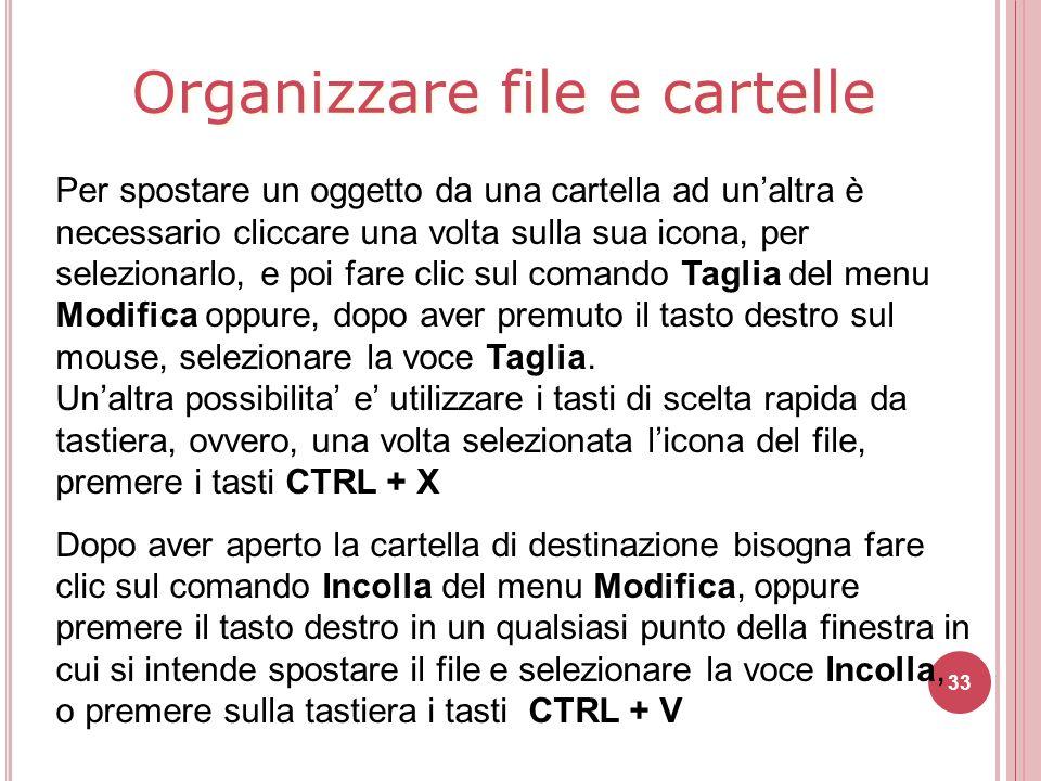 Organizzare file e cartelle