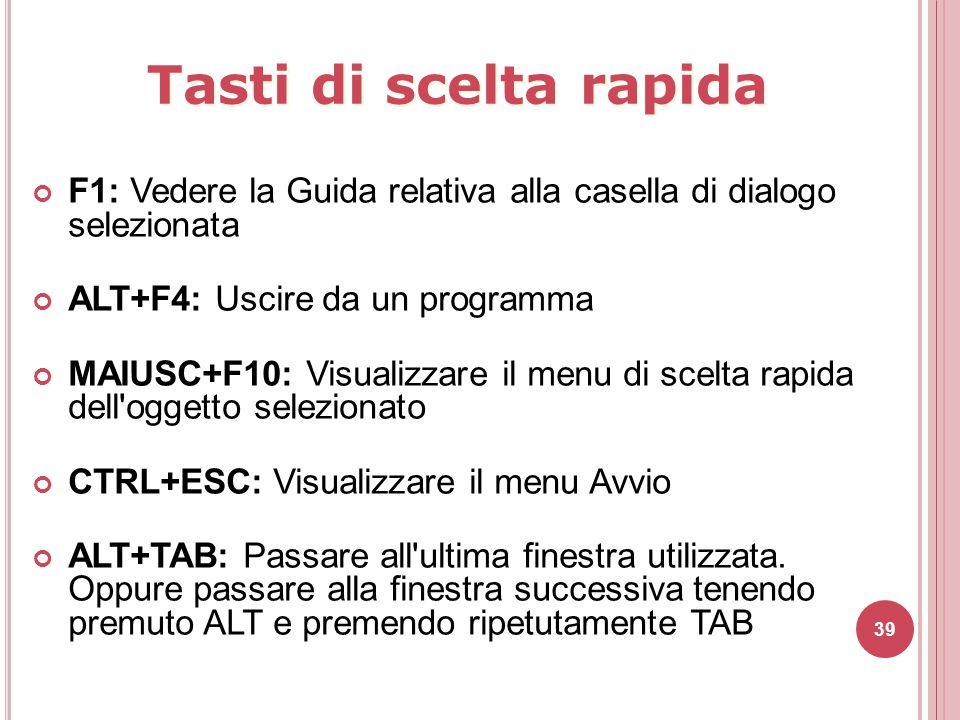 Tasti di scelta rapida F1: Vedere la Guida relativa alla casella di dialogo selezionata. ALT+F4: Uscire da un programma.