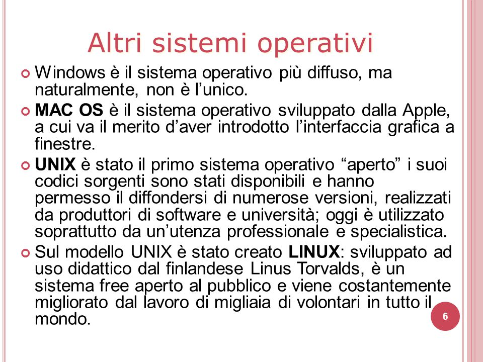 Altri sistemi operativi