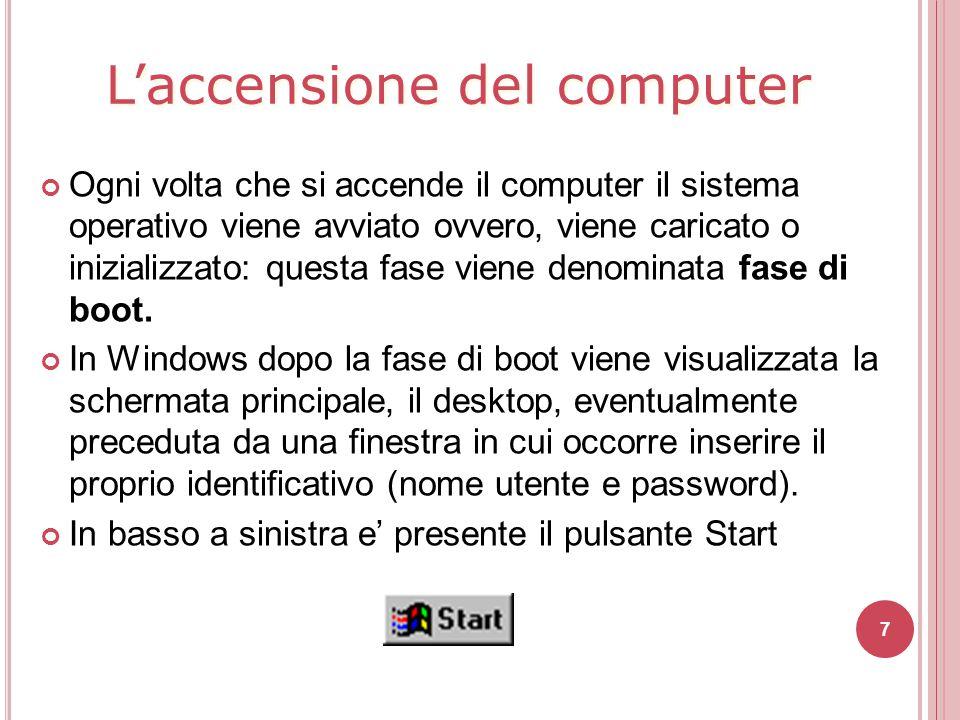 L'accensione del computer