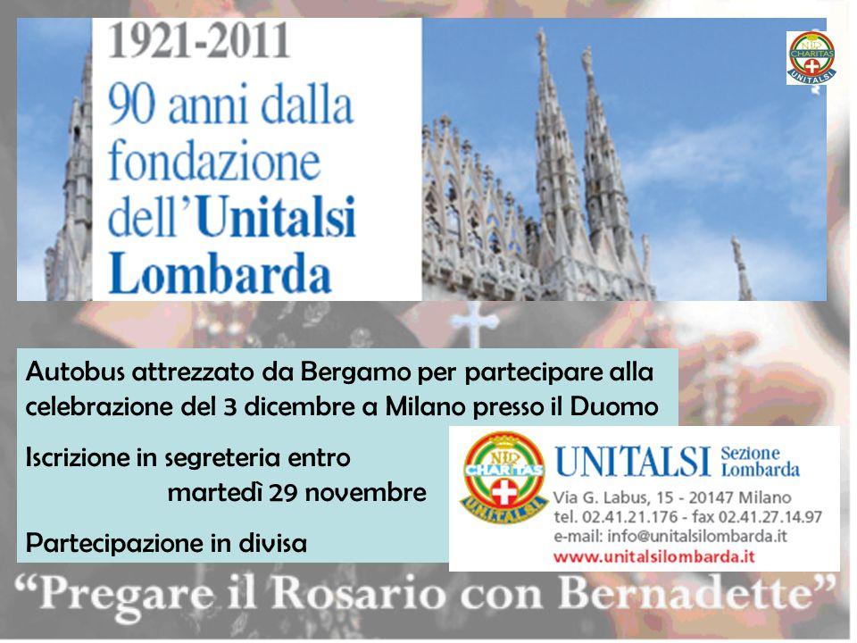 Autobus attrezzato da Bergamo per partecipare alla celebrazione del 3 dicembre a Milano presso il Duomo