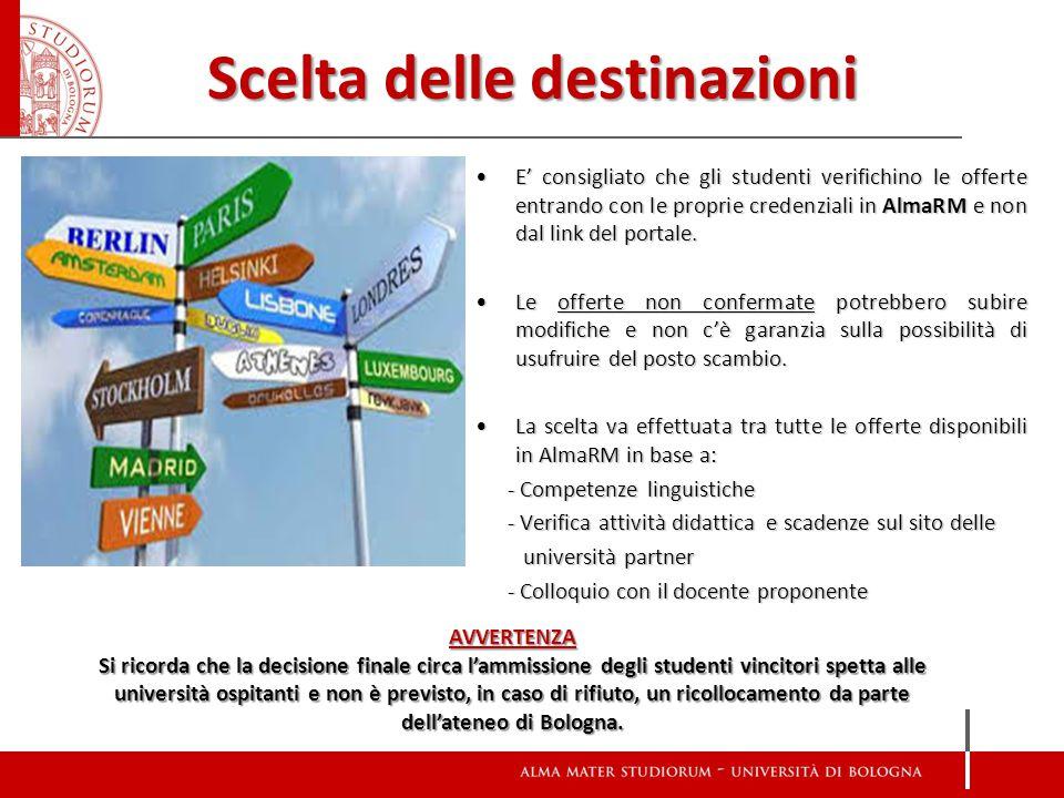 Scelta delle destinazioni