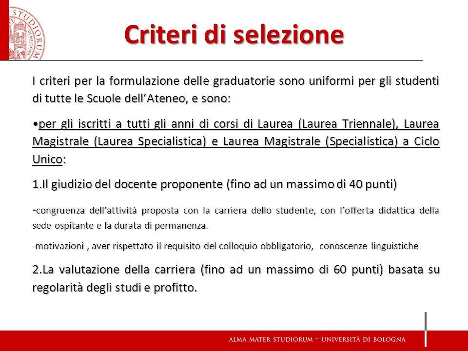 Criteri di selezione I criteri per la formulazione delle graduatorie sono uniformi per gli studenti di tutte le Scuole dell'Ateneo, e sono: