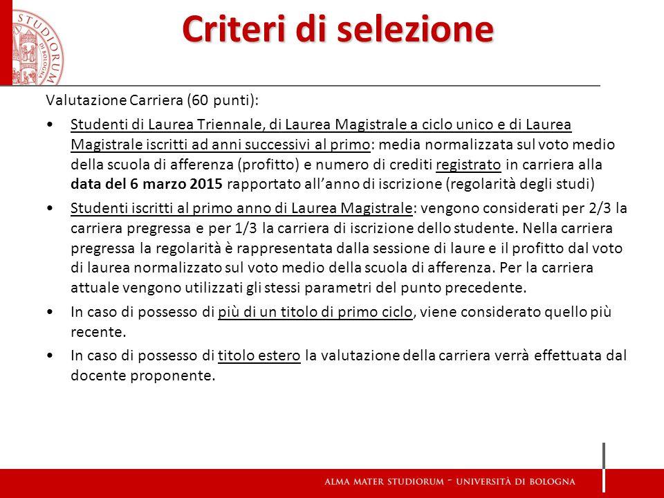 Criteri di selezione Valutazione Carriera (60 punti):