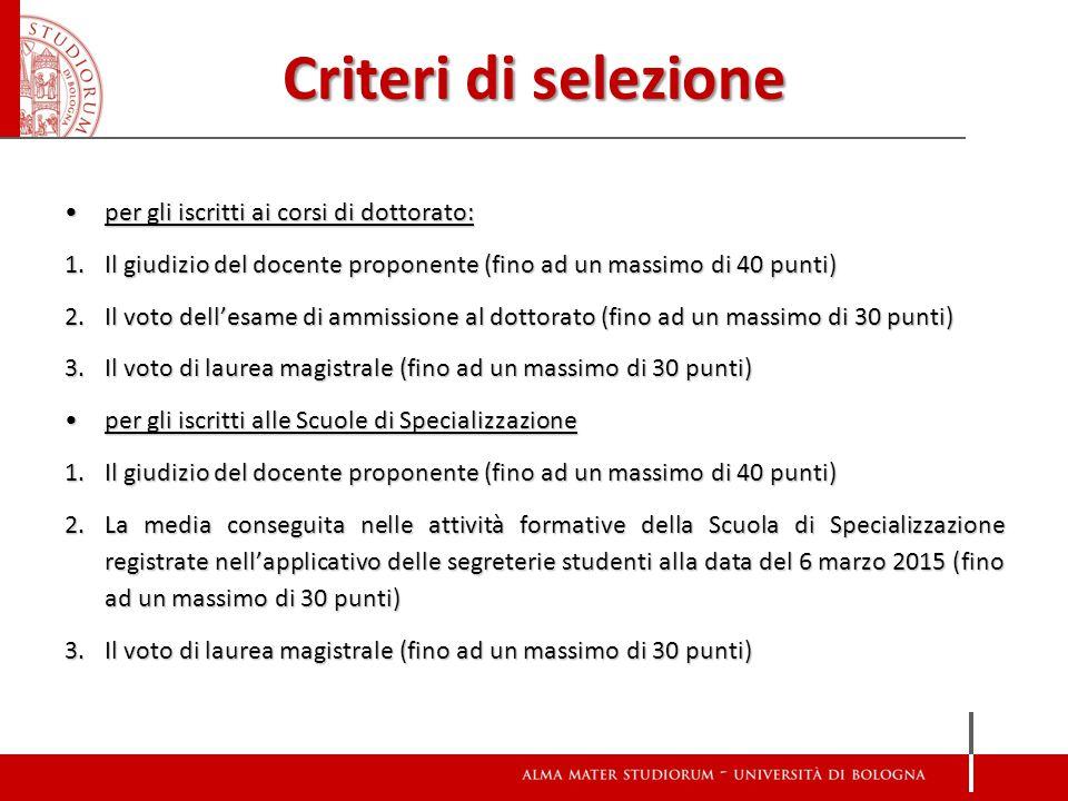 Criteri di selezione per gli iscritti ai corsi di dottorato: