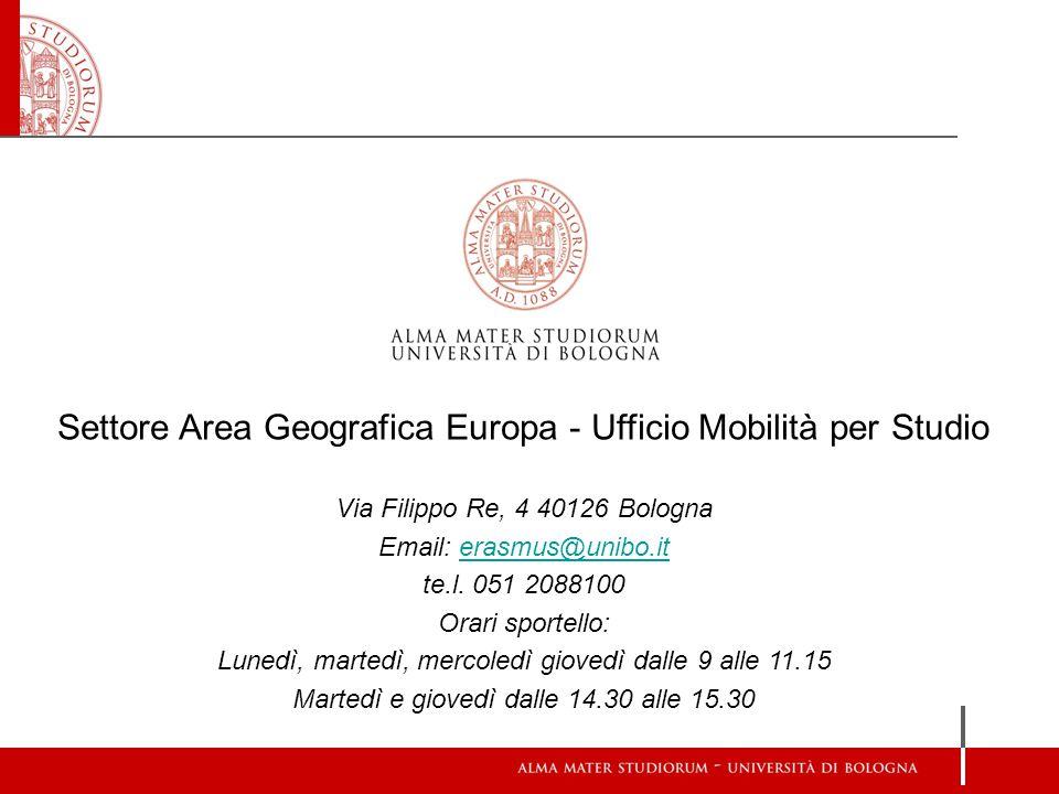 Settore Area Geografica Europa - Ufficio Mobilità per Studio