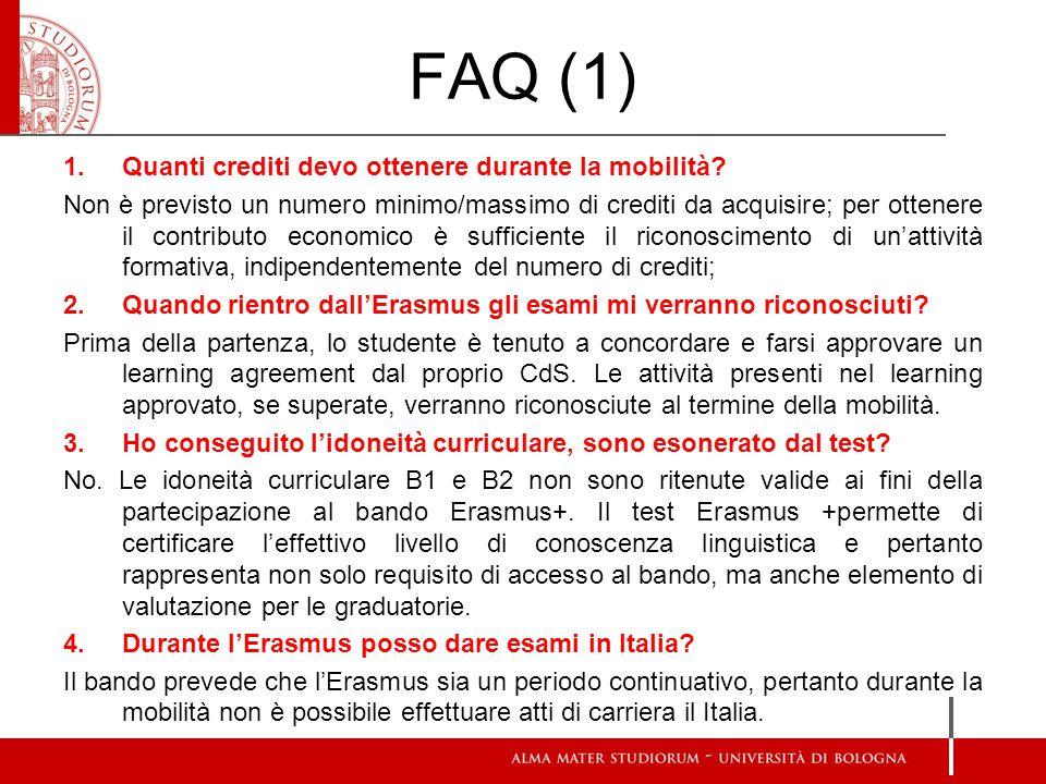 FAQ (1) Quanti crediti devo ottenere durante la mobilità