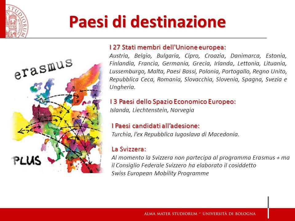 Paesi di destinazione I 27 Stati membri dell Unione europea:
